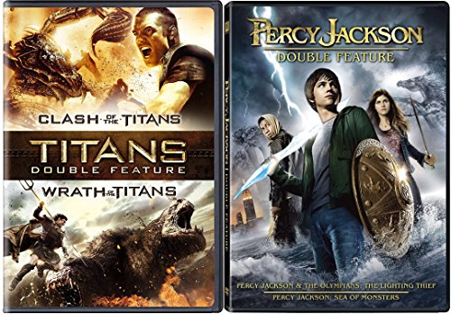Percy Jackson lightning Thief & Sea of Monsters DVD Clash of the Titans / Wrath of the Titans Amazing Fantasy Olympians Double Feature