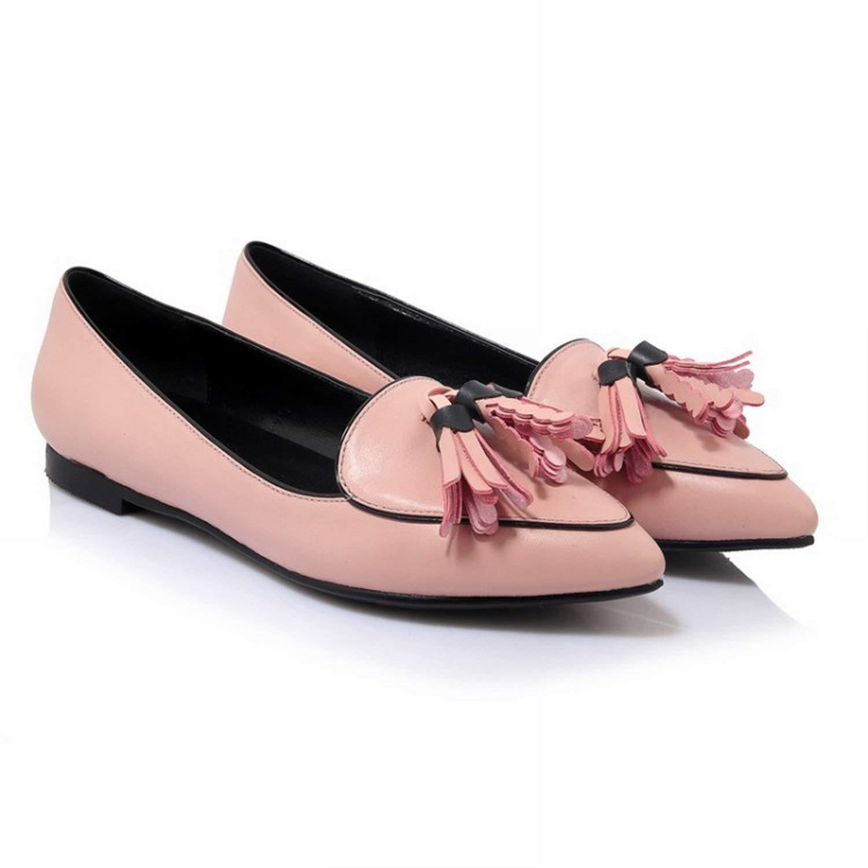 Fuxitoggo Mund oberflächlich Spitz Flach mit der Schuhe Gummi (Farbe (Farbe (Farbe   Rosa Größe   39) f7398a