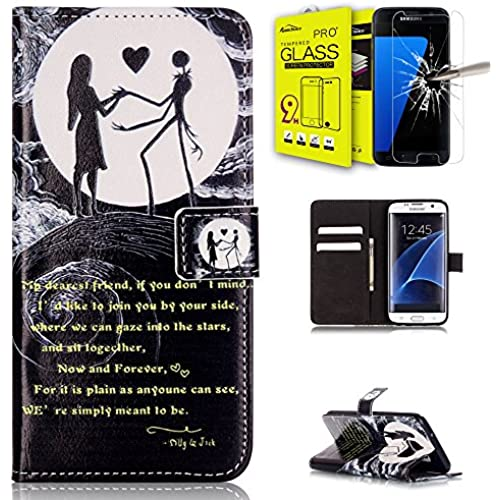 AMCHOICE(TM) Galaxy S7 Case,S7 Case,Samsung Galaxy S7 Case, Galaxy S7 Glass Screen Protector PU Leather Card Slots Wallet For Samsung Galaxy S7 Sales