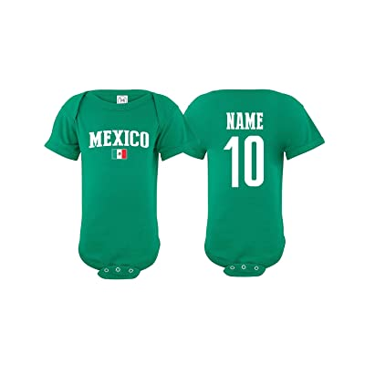 nobrand Mexico Bodysuit Flag Soccer Ball Infant Baby Girls Boys Personalized Customized Name and Number