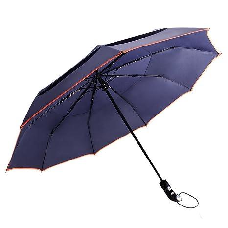 Paraguas Plegable Automático, HooYL Paraguas de Viaje, Paraguas Compacto, Paraguas Resistente al Viento