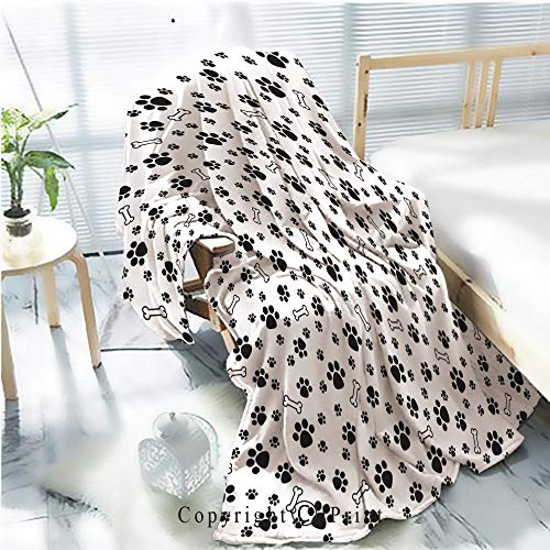 Printed Throw Blanket Smooth and Soft Blanket,Dog Paw isolated dog bone Seamless pattern vector puppy cat wallpaper background white For Sofa Chair Bed Office Travelling Camping,Kid Baby,W31.5