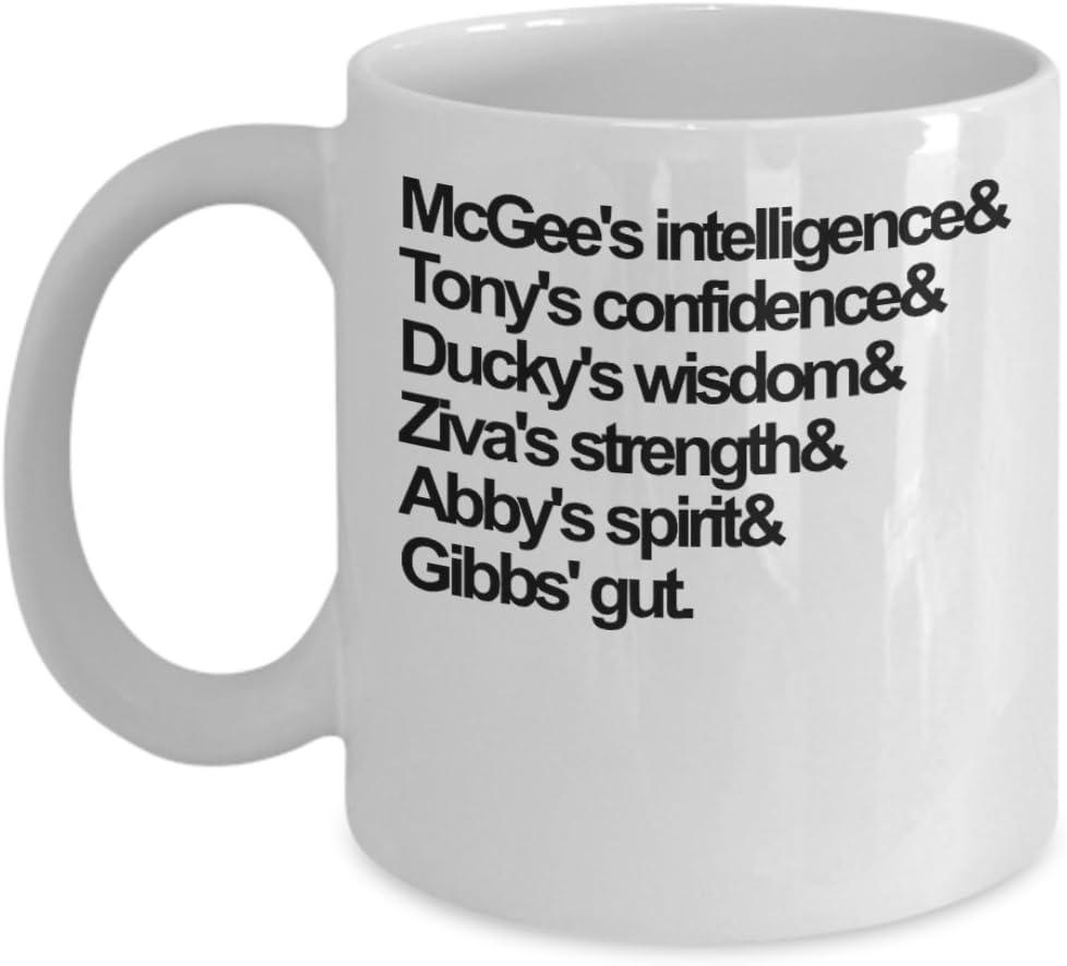 Mcgee Intelligence Gibbs Gut NCIS Coffee Mug Cup (White)11oz Gibbs Rules NCIS Gift Merch Merchandise Accessories Shirt Pin Decal Decor Ducky Ziva Abby