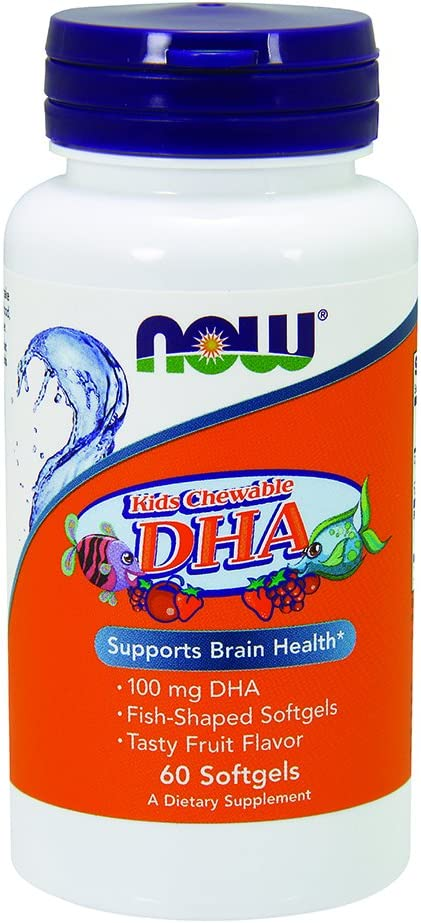 Now Supplements, DHA Kids 100mg, Fruit Flavor, 60 Chewable Softgels