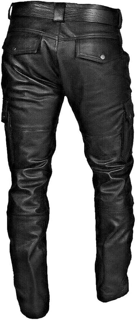 Amphia Herren Lederhose,Herren Pocket Punk Retro Goth Mode Slim Fit Hosen Lederhosen,Slim Fit Hose aus PU Leder Elastisch Bikerhose Lederjeans f/ür Winter Winddicht und Wasserdicht