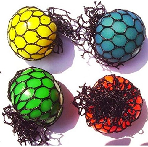LewisStore Mesh Ball Stress Ball 60mm 1 pack Squishy Grape Stress Relief Toys Stress Relaxation Hand Therapy Stress Ball Net Color Random (1 Mesh Net)
