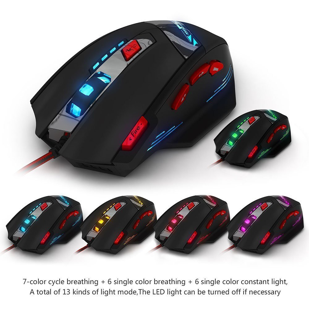 Black Zelotes T90 9200 DPI High Precision USB Wired Gaming Mouse8 Buttonswith 7 Kinds Modes of LED Colorful Breathing Light Weight Tuning Set