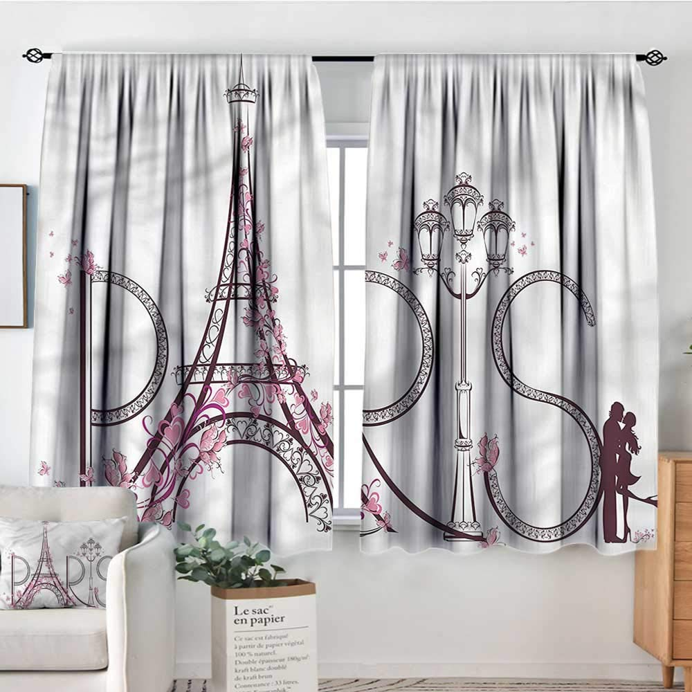 Anzhutwelve Paris,Kids Decor Patterned Drape Tower of Eiffel in France 104''x84'' Chidren Nursey Room Art Print by Anzhutwelve