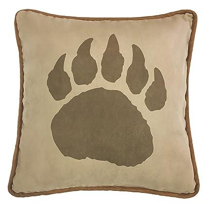 HiEnd Accents PL4107 Faux Suede Bear Claw Reverse Faux Leather Pillow, 18 X  18u0026quot;