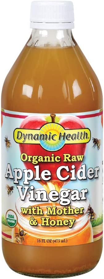 Dynamic Health Organic Raw Apple Cider Vinegar with Mother & Honey | Vegetarian, Non-GMO, No Gluten orArtificial Flavors | 16 FL OZ, Btl-Glass
