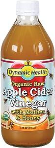 Dynamic Health Organic Raw Apple Cider Vinegar with Mother & Honey | Vegetarian, Non-GMO, No Gluten orArtificial Flavors | 16 FL OZ, Btl-Glass
