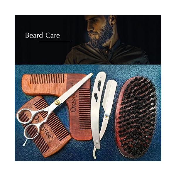 Beard Care Kit, Beard Brush + Beard Comb + Beard Shaper + Scissors + Razor Set for Men, Beard Grooming Kit for Home and Travel with Wooden Box, Ideal Gift for Men-Dad's Birthday Father's Day
