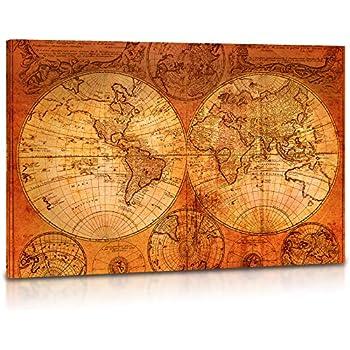 ff8403b20c4 Amazon.com  Decor MI Vintage World Map Canvas Wall Art Retro Map of ...