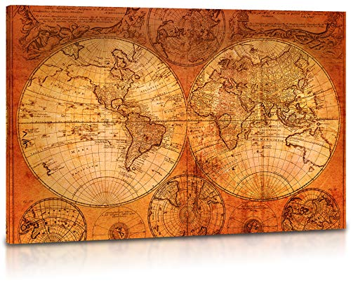 "World Map Canvas Wall Art - Vintage Old World Map of the World, Retro Wall Art for Living Room, Home, Office Decor - Premium Quality Large Stretched Canvas Prints, Framed & Ready to Hang - 36 x 24"" from Foxglove & Co"