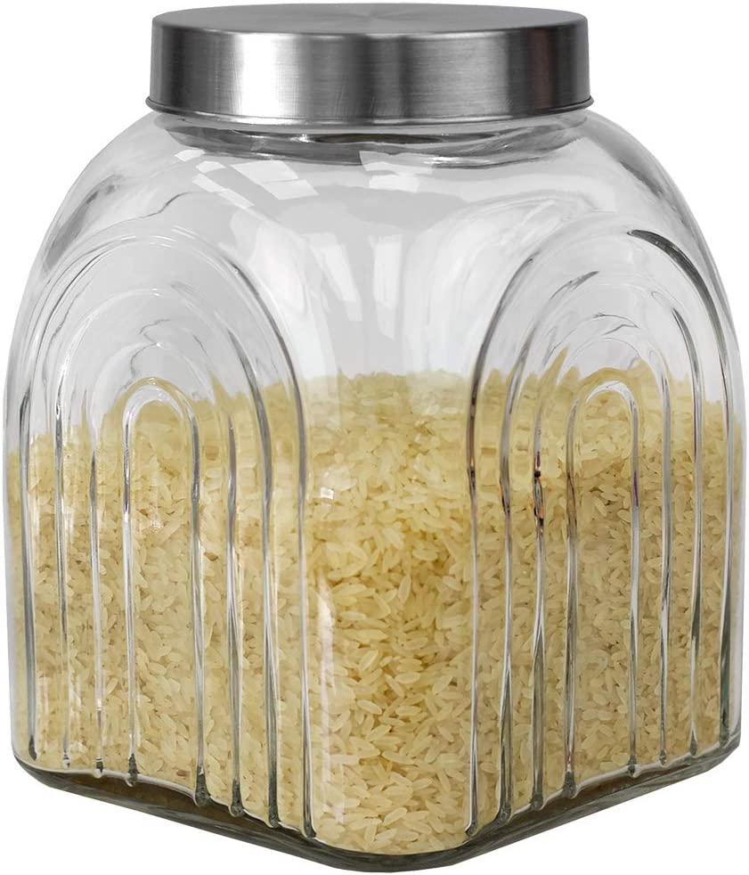 Home Basics Heritage Jar with Fresh Sealed Air-Tight Silver Lid, Glass Canister Container Store Food, Coffee, Sugar, Tea, 3.5 Liters, Clear