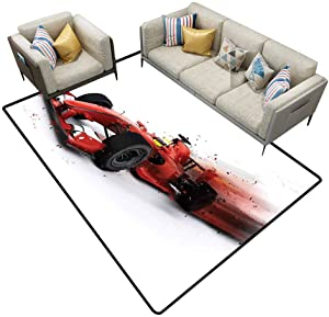 Carpet rakecarpets for Living Room Cars Decor Generic Formula 1 Racing Car Illustration with Special Pace Effect Turbo Motion Auto Print Red Black Outdoor Rugs Area 7'6x10'