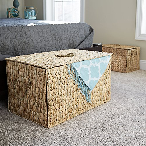 """Household Essentials ML- 6610 Large Wicker Storage Box with Lid - 12.2""""H x 20""""W x 11.8""""D - Light Brown"""