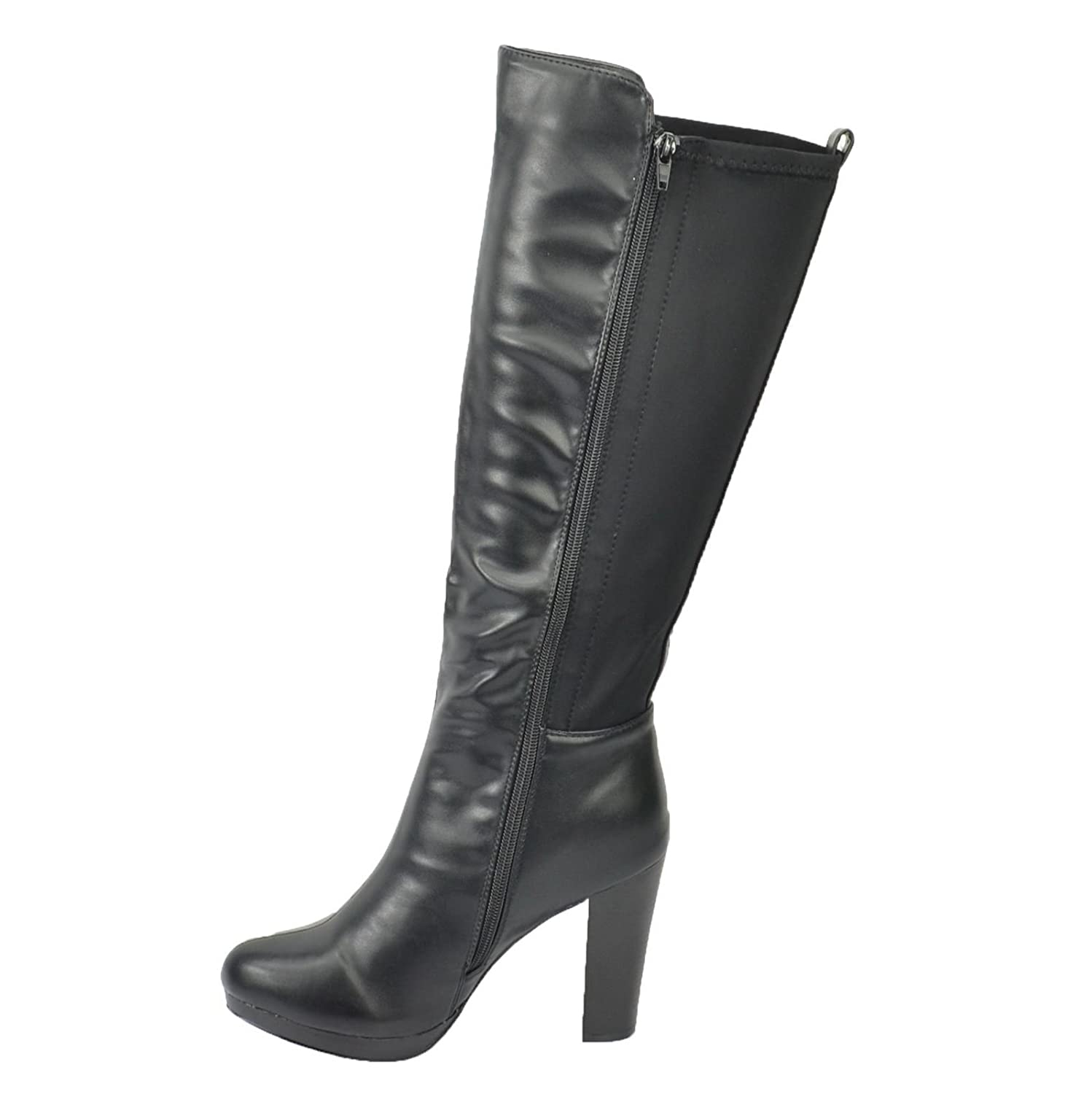 Miss Image UK New Ladies Womens Knee High Platform Block Heel Stretch Zip  UP Boots Shoes Size: Amazon.co.uk: Shoes & Bags