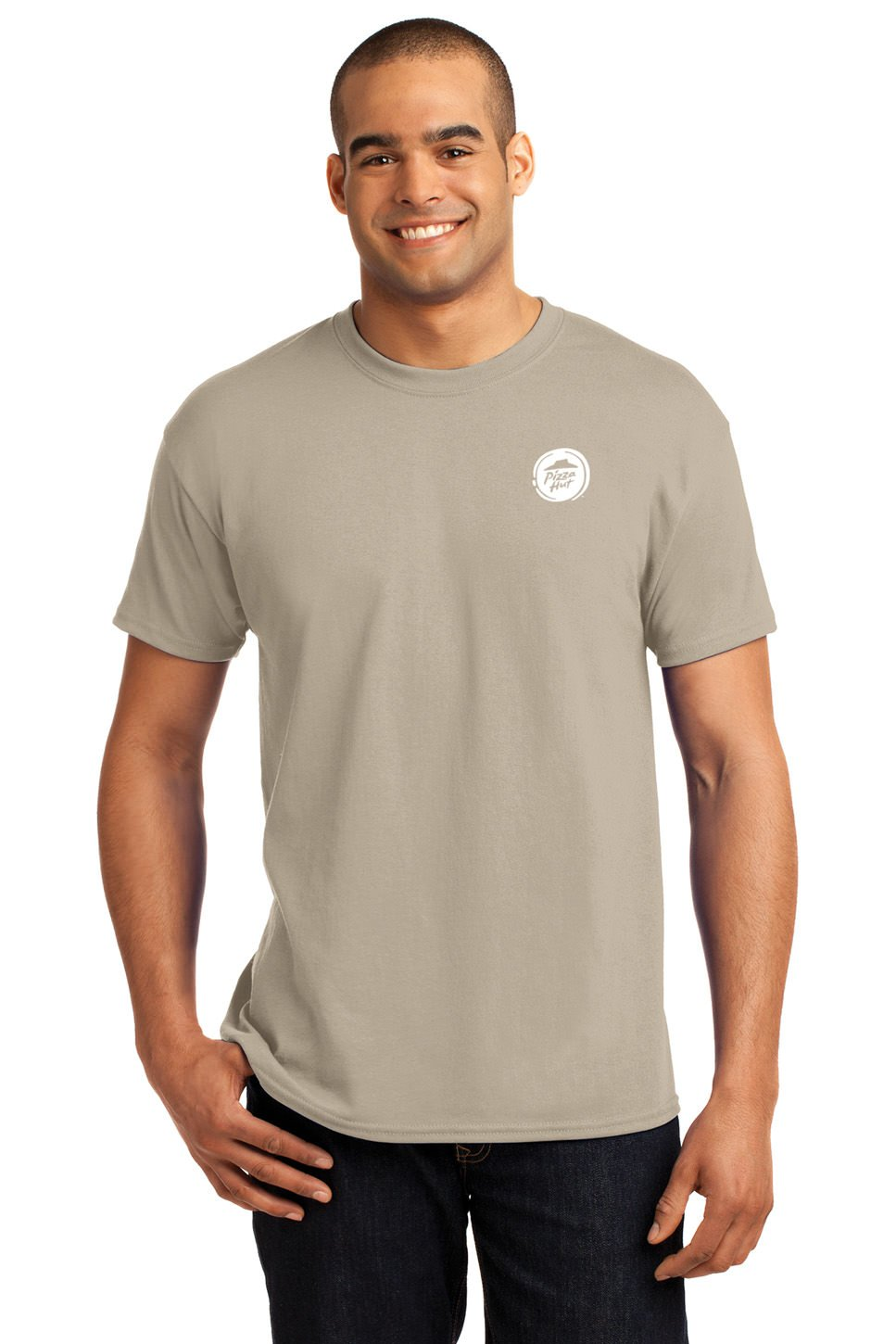 Promo Direct Hanes Cotton/Polyester EcoSmart Short Sleeve Men's T-Shirt - 24 Qty - Promotional Product - Imprinted With Your Company Name, Logo or Message (Sand)