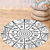 VROSELV Custom carpetZodiac Decor Zodiac Clock with Signs Ecliptic Coordinate System Birth Chart of Solar Print for Bedroom Living Room Dorm Black White Round 72 inches