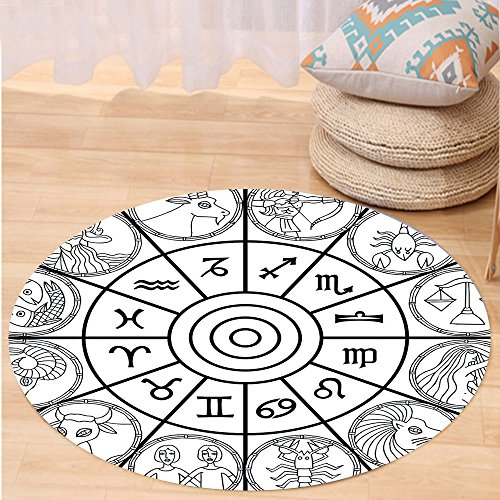 VROSELV Custom carpetZodiac Decor Zodiac Clock with Signs Ecliptic Coordinate System Birth Chart of Solar Print for Bedroom Living Room Dorm Black White Round 72 inches by VROSELV