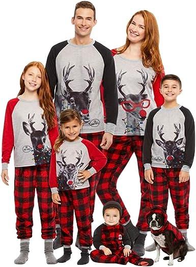 Landove Pijama Familiar de Navidad Invierno Conjunto 2 Piezas Pantalon y Top