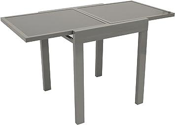Table aMALFI en aluminium et verre 65 x 65 cm (extensible ...