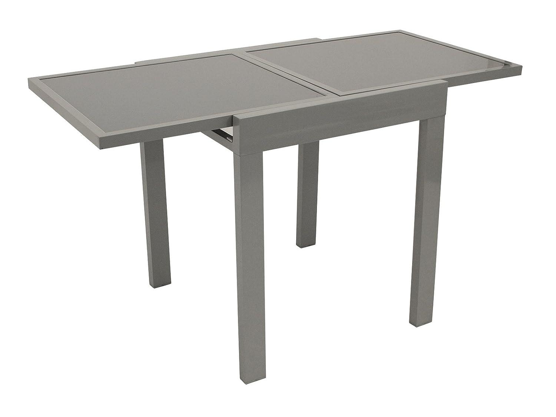 balkontisch amalfi aus aluminium und glas 65x65cm ausziehbar auf 65x130cm online kaufen. Black Bedroom Furniture Sets. Home Design Ideas