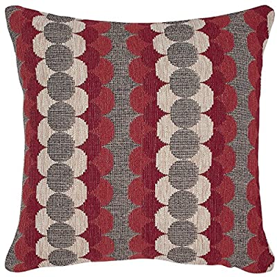 "Amazon Brand – Rivet Mid-Century Modern Circle Throw Pillow Cover - 17 x 17 Inch, Red and Grey - Rows of woven geometric shapes in contrasting red, white and grey create an eye-popping addition to your room. For a different look, reverse the pillow to show the solid grey side. This pillow will freshen up a transitional or modern-style bedroom. Pillow cover features hidden bottom zipper 17""L x 17""W, Pillow cover dimensions are measured from seam to seam when cover is laid flat. - living-room-soft-furnishings, living-room, decorative-pillows - 61PfzgRHJvL. SS400  -"