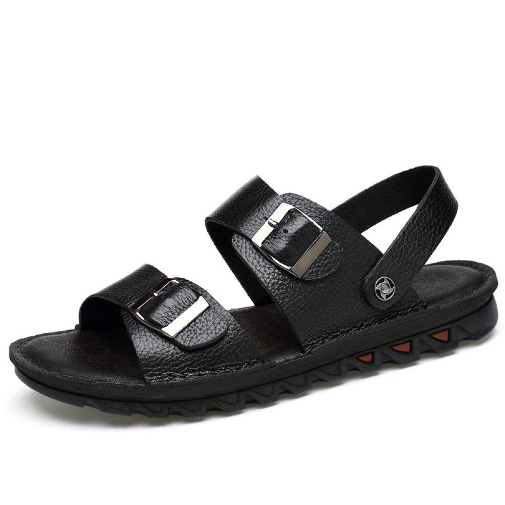 LYZGF Zapatillas De Cuero Ocasionales De La Juventud De Los Hombres De Verano Sandalias De Playa De La Moda 44 EU|Negro