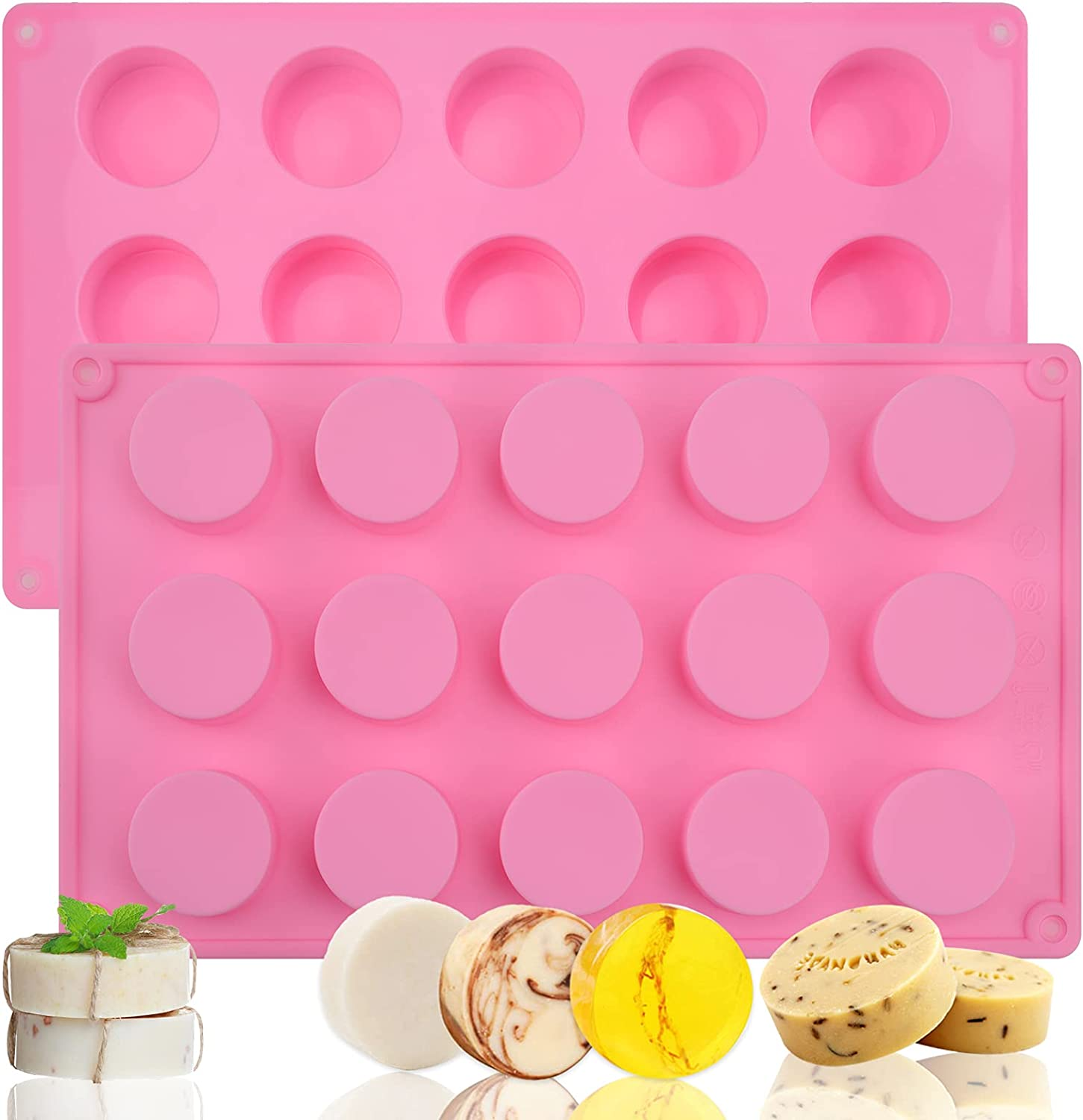 Cylinder Silicone Soap Mold, 2 Pack 15 Cavity Round Silicone Molds for Handmade Soap, Lotion Bars, Bath Bombs, Chocolate, Cake