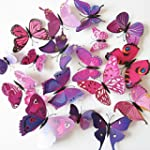12pcs 3D Art Butterfly Decal Wall Sti...