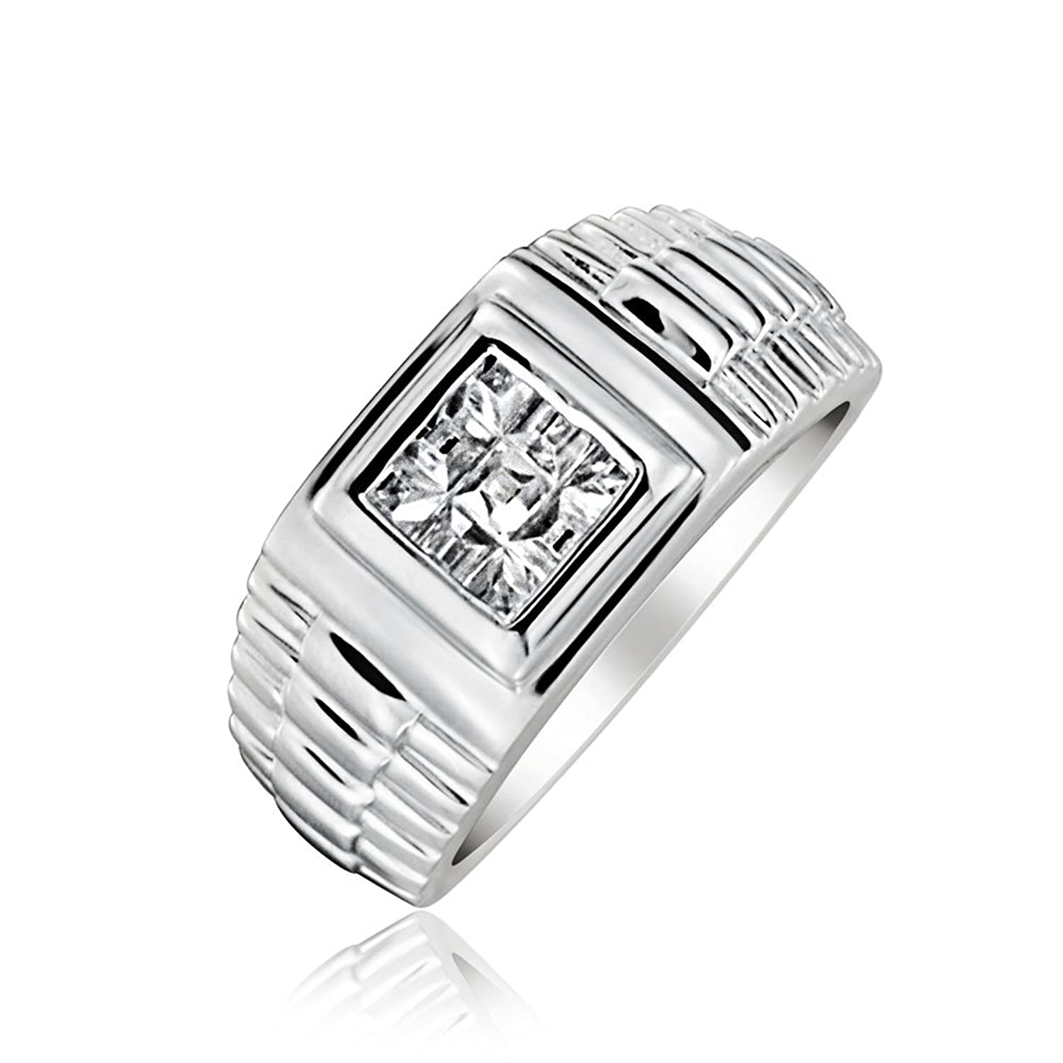 Amazon.com: Bling Jewelry .925 Silver Invisible Cut CZ Watch Band ...