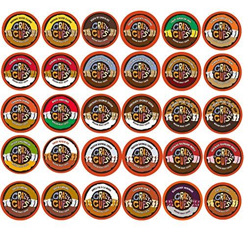 Crazy Cups Single Serve Keurig K-Cups, Flavored Medium Roast Coffee, Variety Pack (30-Pack)