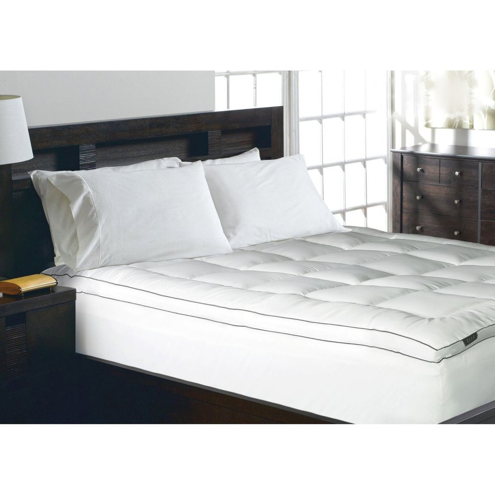Elle 1200 Thread Count Cotton-Rich Solid Mattress Pad, Queen, White