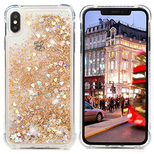 Badalink Compatible iPhone Xs Max 6.5 inch 2018 Case, iPhone Xs Max Bling Sparkly Glitter Liquid Clear Cover Shock Absorption Drop Protection Bumper Soft TPU Shell iPhone Xs Max 6.5 2018 - Gold