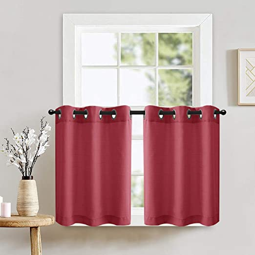 45 Inches Long TOPICK White Tier Curtains for Kitchen Casual Weave Cafe Curtains Privacy Semi Sheer Window Curtains for Living Room 1 Pair
