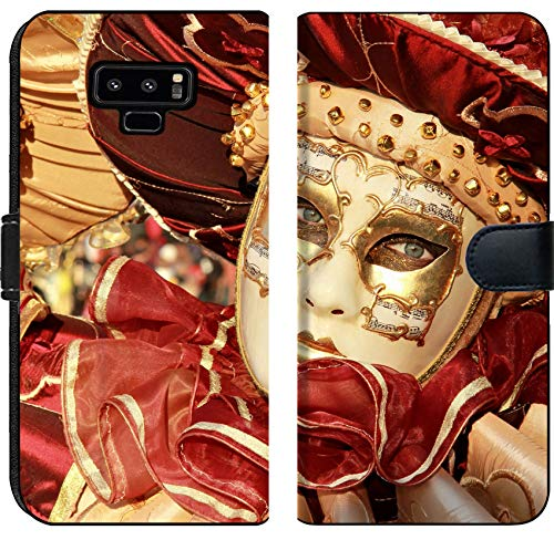 Liili Premium Samsung Galaxy Note9 Flip Micro Fabric Wallet Case Close up of a Colourful mask in Gold and red with Music Score Venice Carnival Photo 12473681