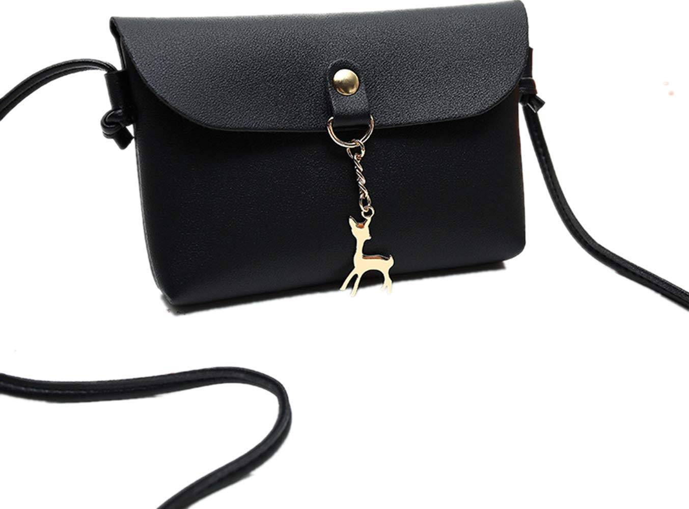 BCDshop Women Small Crossbody Shoulder Bag,GILR Deer Pendant Faux Leather Wallet Coin Purse (Black)