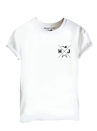 90ea74096b68bb Tattooed Villains Hobo Jack - HJ Crest - White Tee - Tshirt  Amazon.co.uk   Clothing