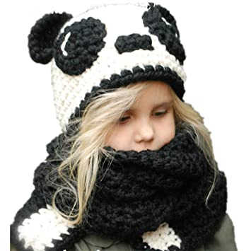 LJYASD Panda Sombrero Infantil Alargar Bufanda Oreja Dibujos Animados  Manual Gorro Lana Lana Encantador Cómodo Calentar 1fd79498564