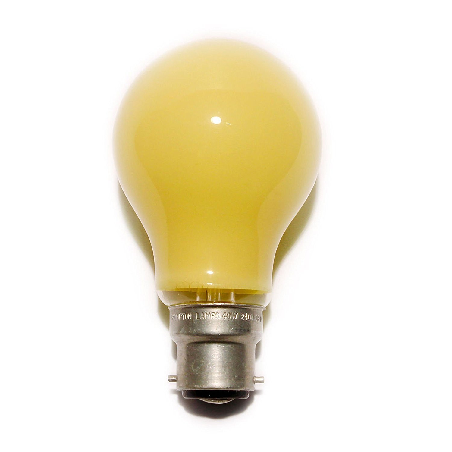 Coloured Light Bulb 60W BC Yellow Branded