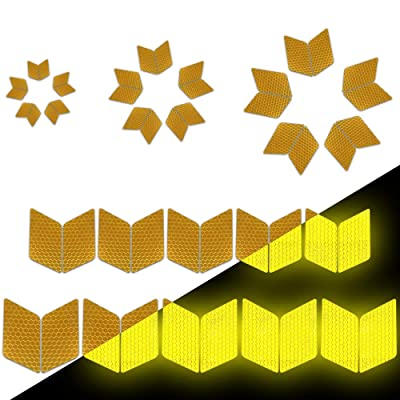 Longzhimei Reflective Stickers Safety Warning Tape Reflective Tape Self-Adhesive for Helmets Bicycles Strollers Wheelchairs and More - Pack of 25 Yellow: Automotive