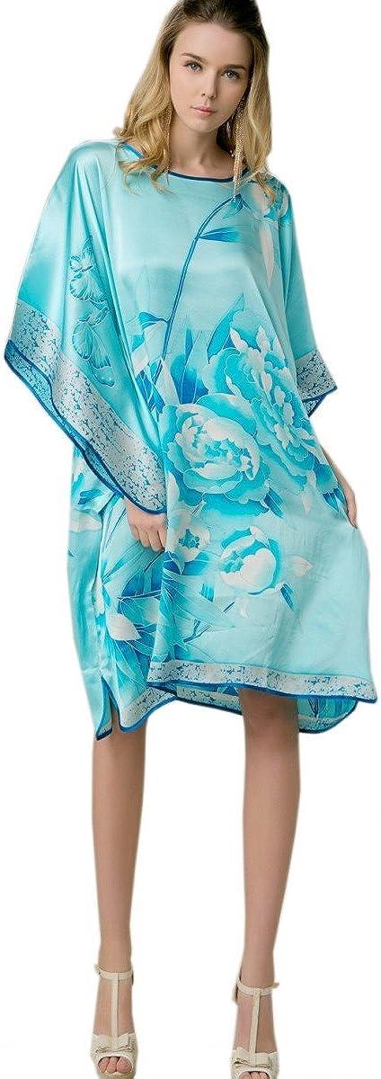 prettystern 100% Seta Kimono Pigiama Camicia da Notte con Pittura a Pennello Cinese Dipinto a Mano