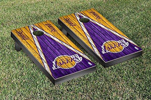 Los Angeles LA Lakers NBA Basketball Regulation Cornhole Game Set Triangle Weathered Version by Victory Tailgate