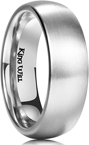 King Will Basic 3mm 4mm 5mm 6mm 7mm 8mm Titanium Ring Matte Brushed Black Comfort Fit Domed Wedding Band for Men