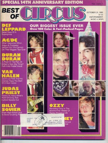 - Best of Circus Magazine 14TH ANNIVERSARY Billy Squier DURAN DURAN CENTERFOLD Randy Rhoads JOURNEY October 30, 1983 C (Circus Magazine)