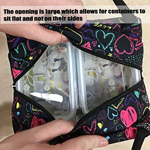 Sumnacon Insulated Lunch Bag, Reusable Portable Leakproof Lunch Box Tote Cooler Bag for Men Women Girls Kids for Work,School,Picnic(Heart Pattern) by Sumnacon (Image #5)