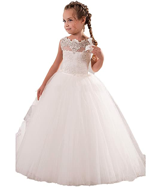 VIPbridal Scoop encaje flor vestidos de niñas Vestido largo de primera comunión (5)