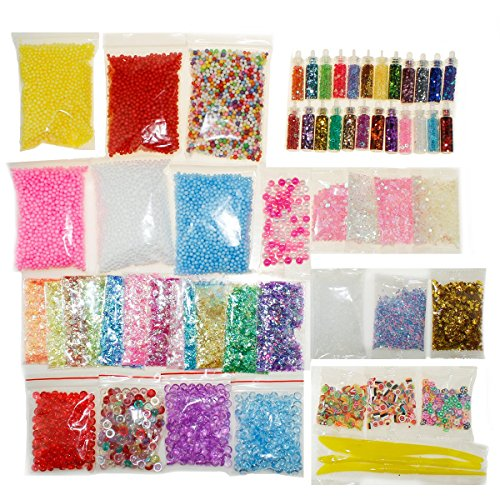 Slime Supplies Kit 60 Pack Slime Beads Charms Including Floam Beads, Fishbowl Beads, Glitter Jars, Fruit Slices, Rainbow Pearl, Colorful Sugar Paper Accessories, Slime Tools for Slime Making DIY Arts by Aneforall